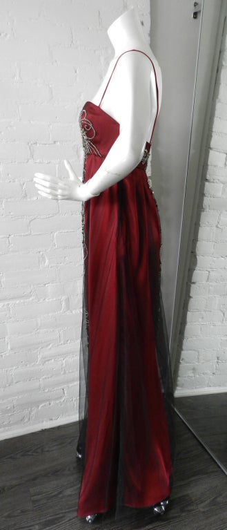 Reem Acra Red Beaded Evening Dress 2