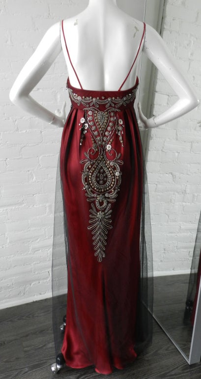Reem Acra Red Beaded Evening Dress 3