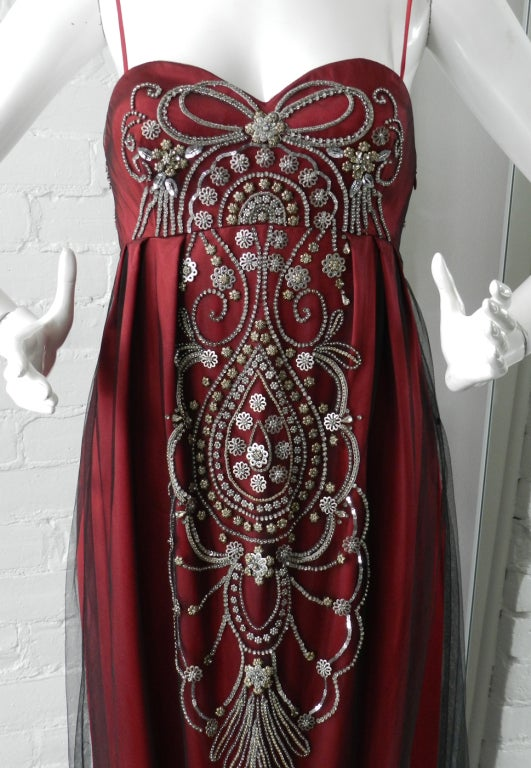 Reem Acra Red Beaded Evening Dress 4