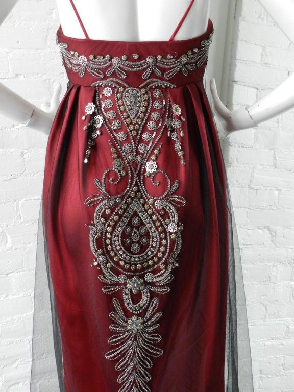 Reem Acra Red Beaded Evening Dress 5