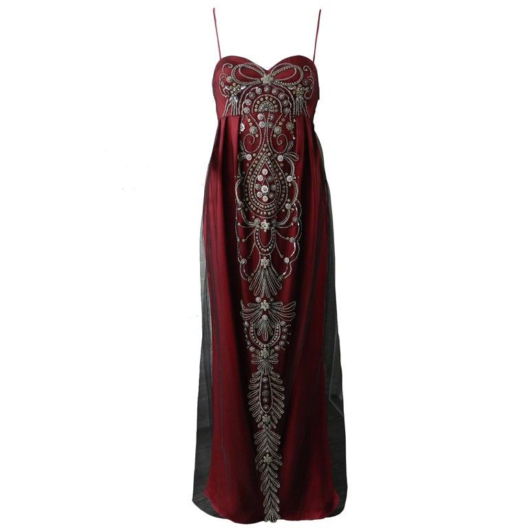 Reem Acra Red Beaded Evening Dress at 1stdibs