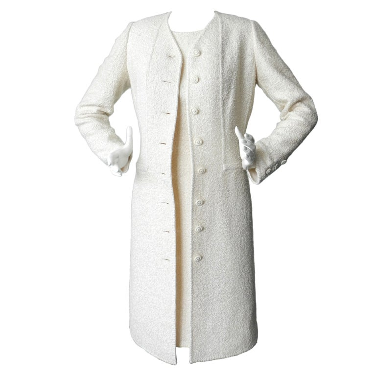 Pierre balmain haute couture ivory boucle dress and jacket for Haute couture jacket