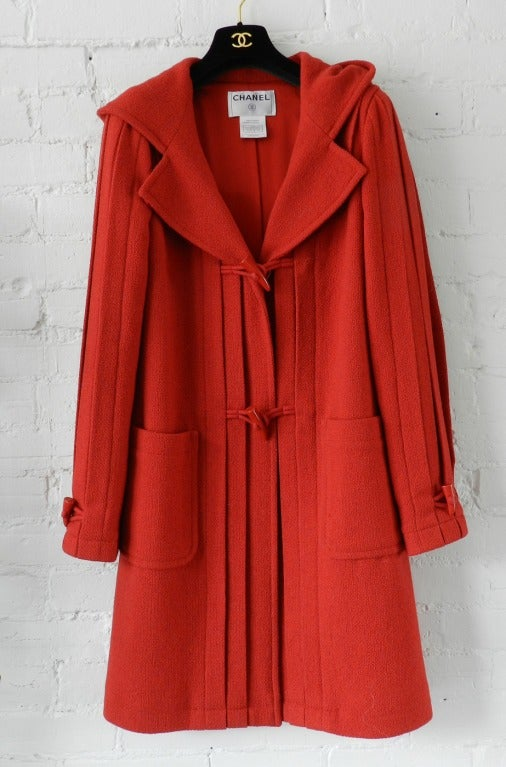 Chanel 06A Red Boucle Wool Coat 2