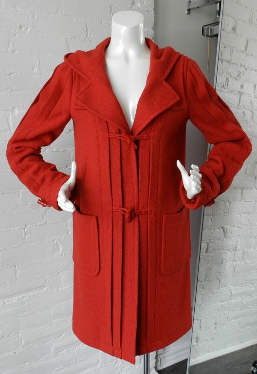Chanel 06A Red Boucle Wool Coat 3