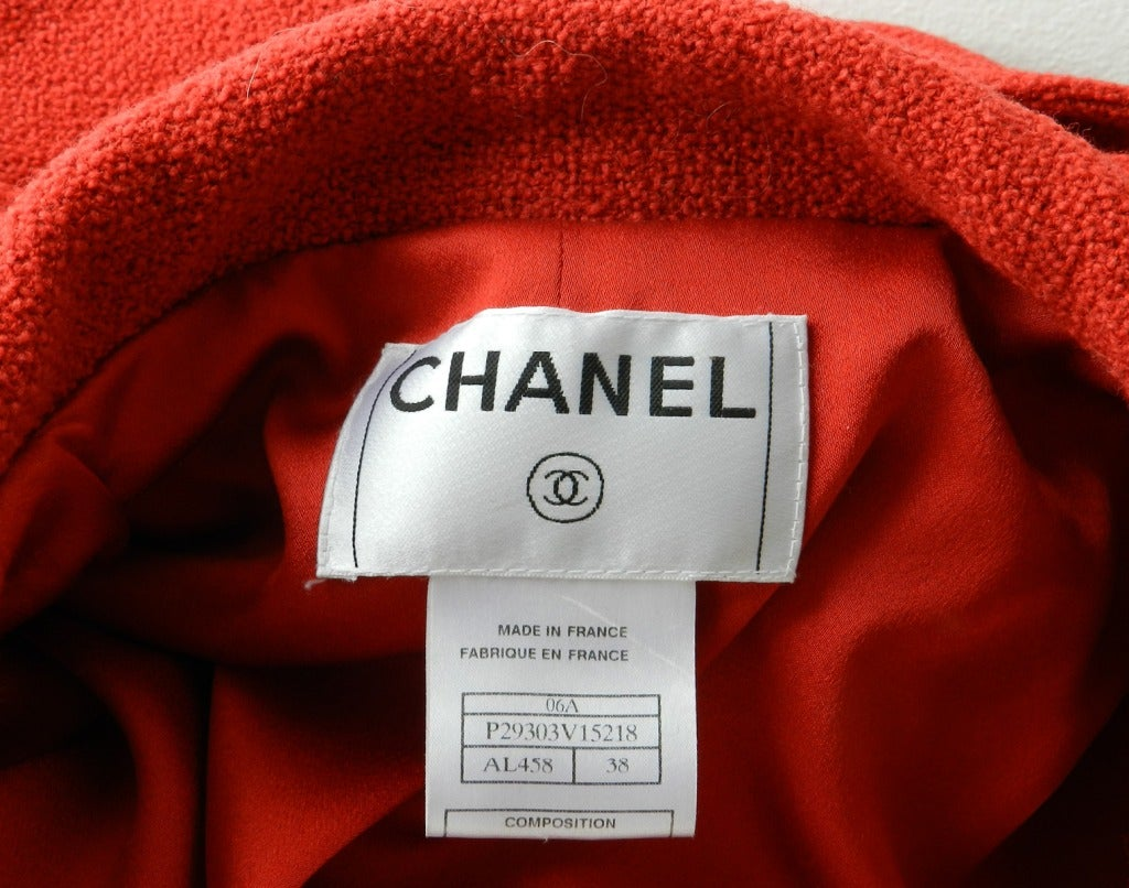 Chanel 06A Red Boucle Wool Coat 8
