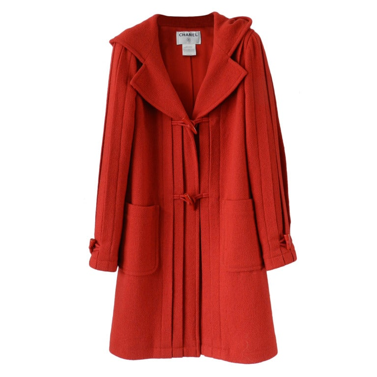 Chanel 06A Red Boucle Wool Coat 1