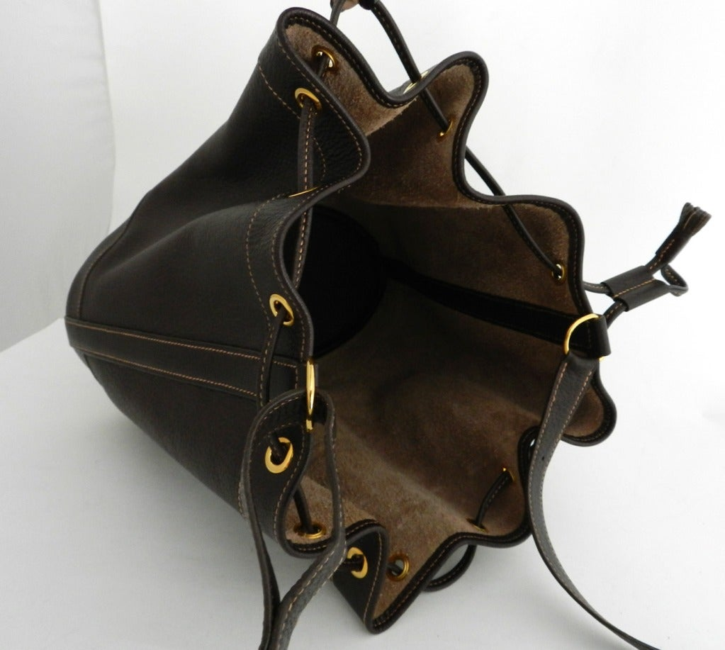 Hermes 1999 Brown \u0026#39;Market\u0026#39; Drawstring Bag at 1stdibs