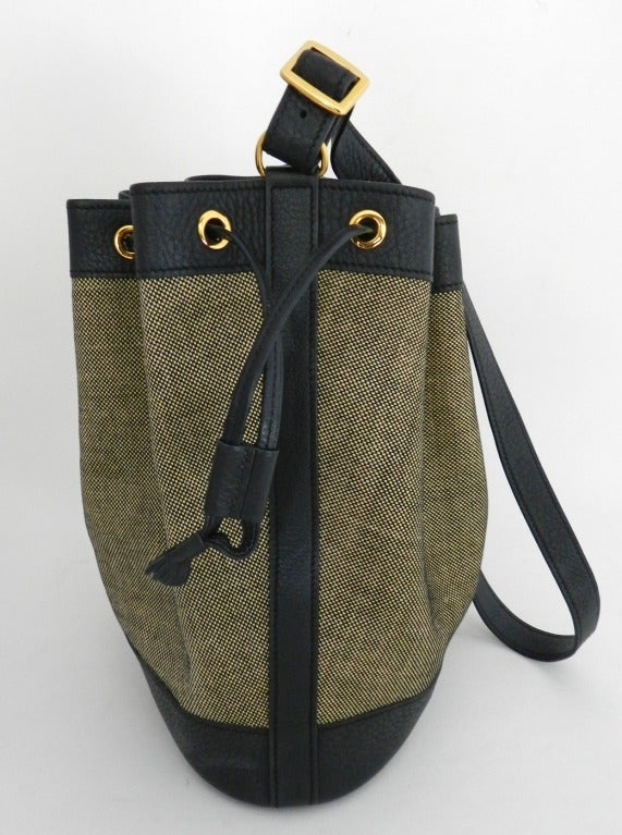 Hermes 1997 Black leather and Toile \u0026#39;Market\u0026#39; Bucket Bag at 1stdibs