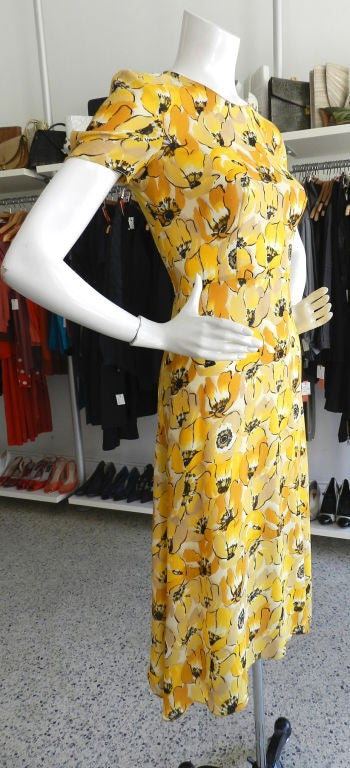 Prada 2000 Yellow Floral Silk Dress image 2