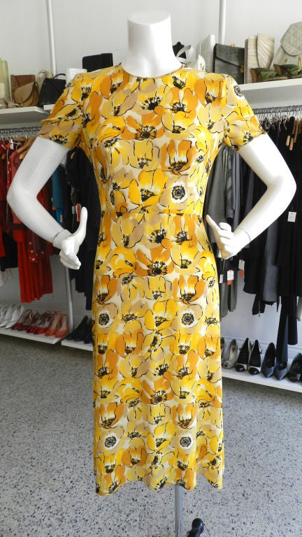 Prada 2000 Yellow Floral Silk Dress image 7