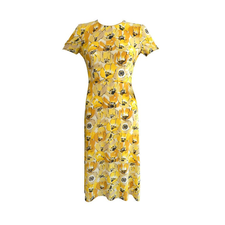 Prada 2000 Yellow Floral Silk Dress