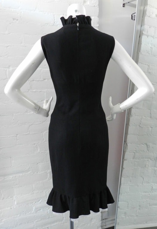 Chanel Haute Couture Numbered Black Wool Dress 3