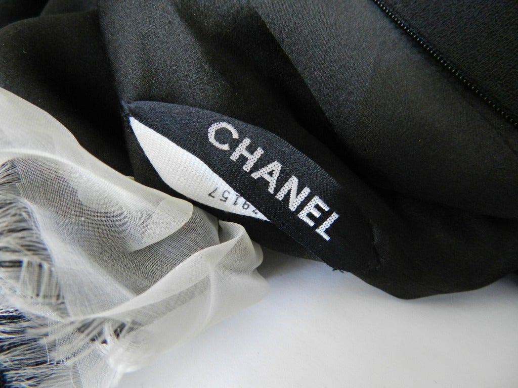 Chanel Haute Couture Numbered Black Wool Dress 4