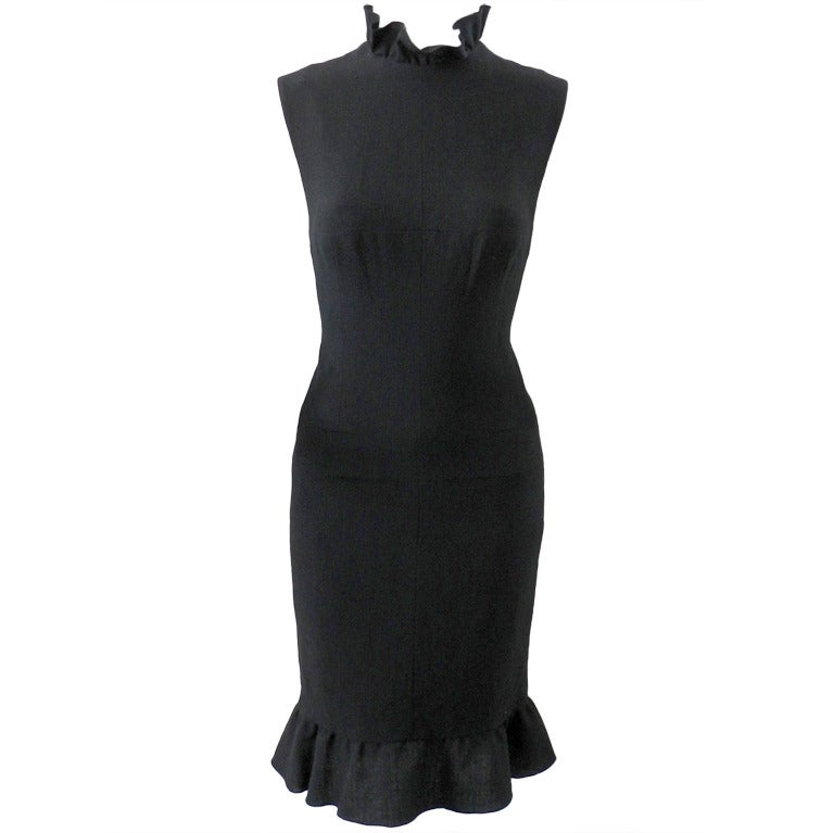 Chanel Haute Couture Numbered Black Wool Dress 1