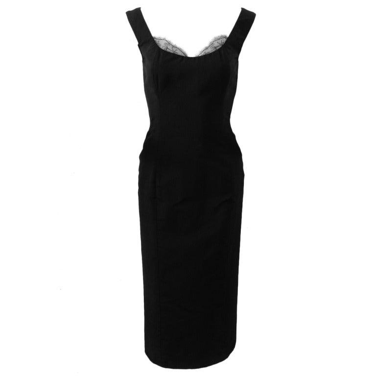 Alexander McQueen Black Silk Dress with Lace 1