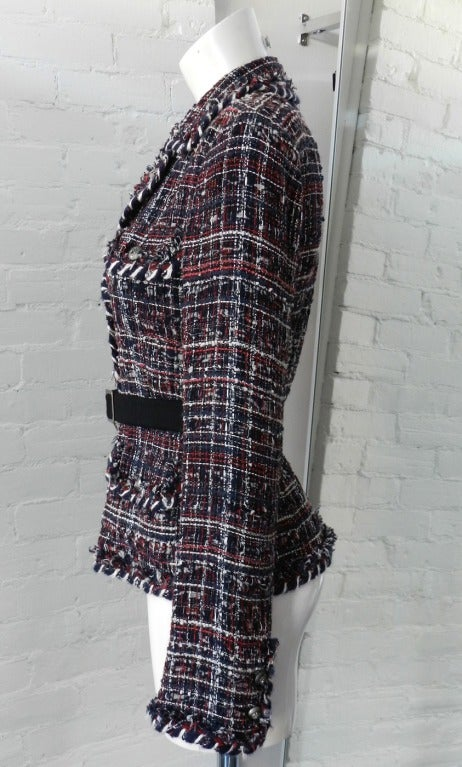 Chanel Runway 08A Red Navy Tweed Jacket In Excellent Condition For Sale In Toronto, CA
