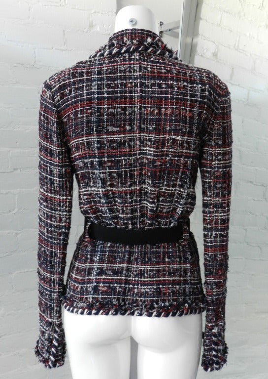 Women's Chanel Runway 08A Red Navy Tweed Jacket For Sale