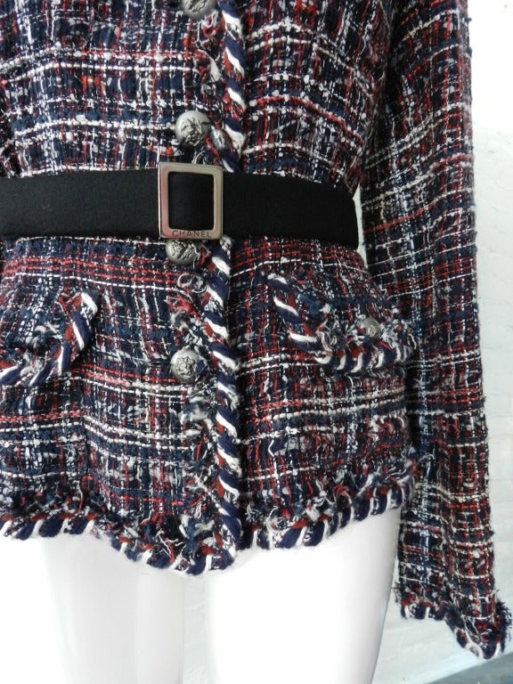 Chanel Runway 08A Red Navy Tweed Jacket For Sale 1