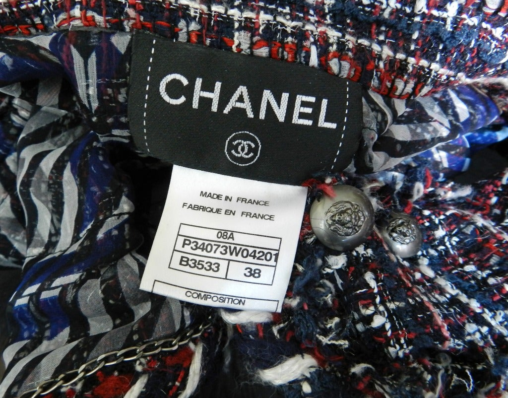 Chanel Runway 08A Red Navy Tweed Jacket For Sale 3