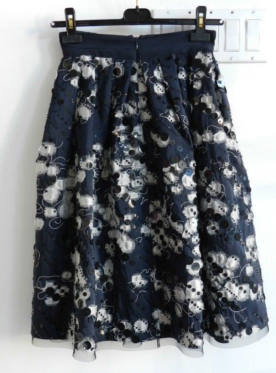 Naeem Khan Midnight Silk Sequin Skirt 4