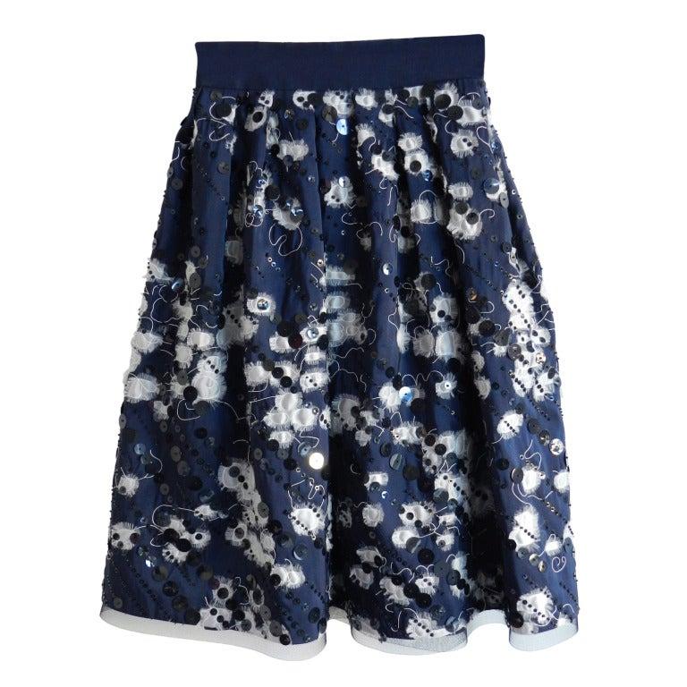 Naeem Khan Midnight Silk Sequin Skirt 1