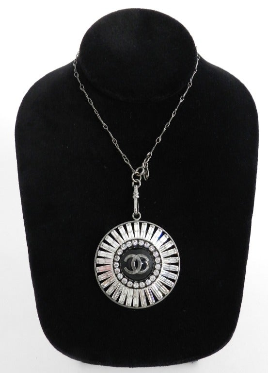 Chanel 07P Rhinestone Pendant Necklace 2