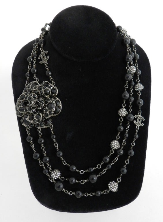 Chanel 12C Black Rhinestone & Glass Camelia Necklace 2