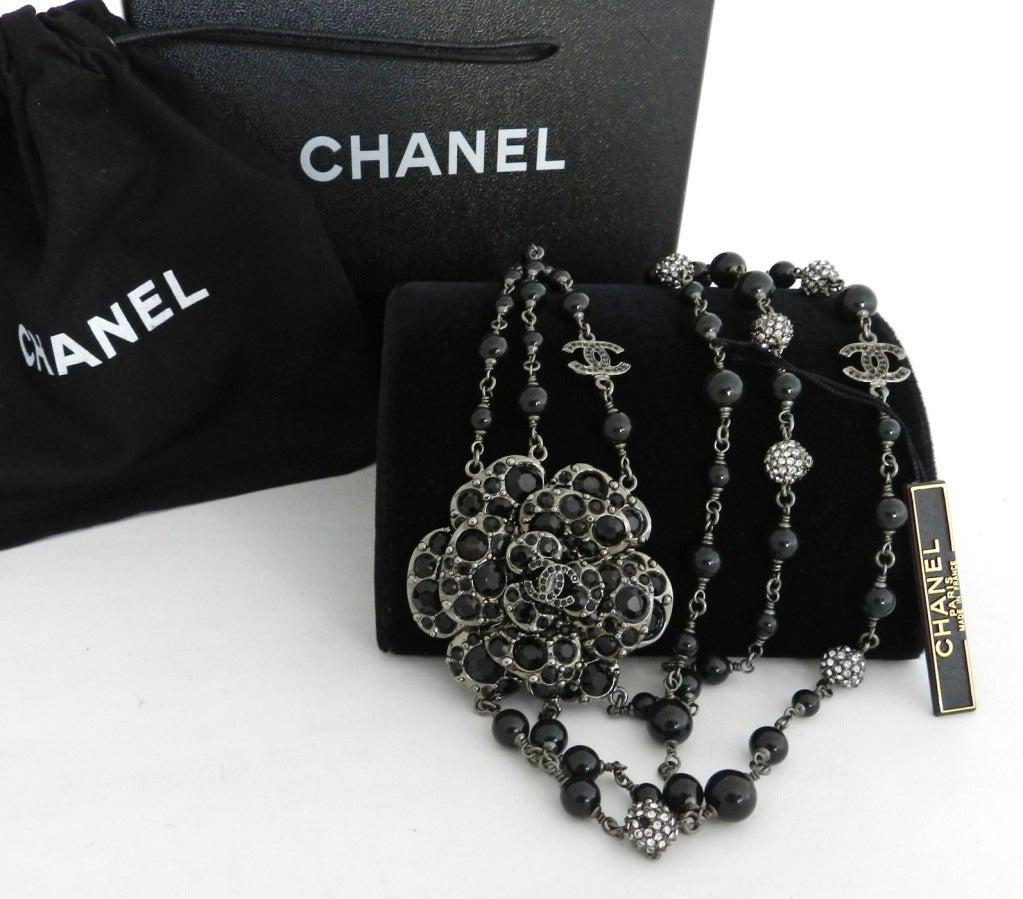 Chanel 12C Black Rhinestone & Glass Camelia Necklace 3