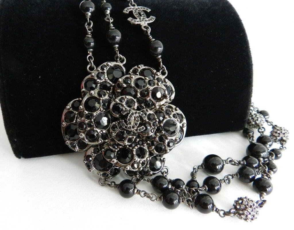 Chanel 12C Black Rhinestone & Glass Camelia Necklace 4