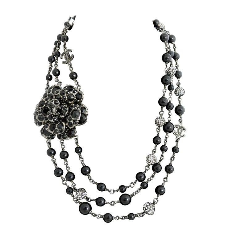 Chanel 12C Black Rhinestone & Glass Camelia Necklace 1