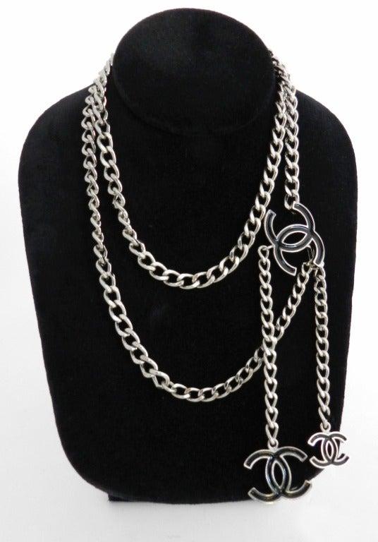 Chanel 00v Silver Chain Belt W Black Enamel Cc At 1stdibs