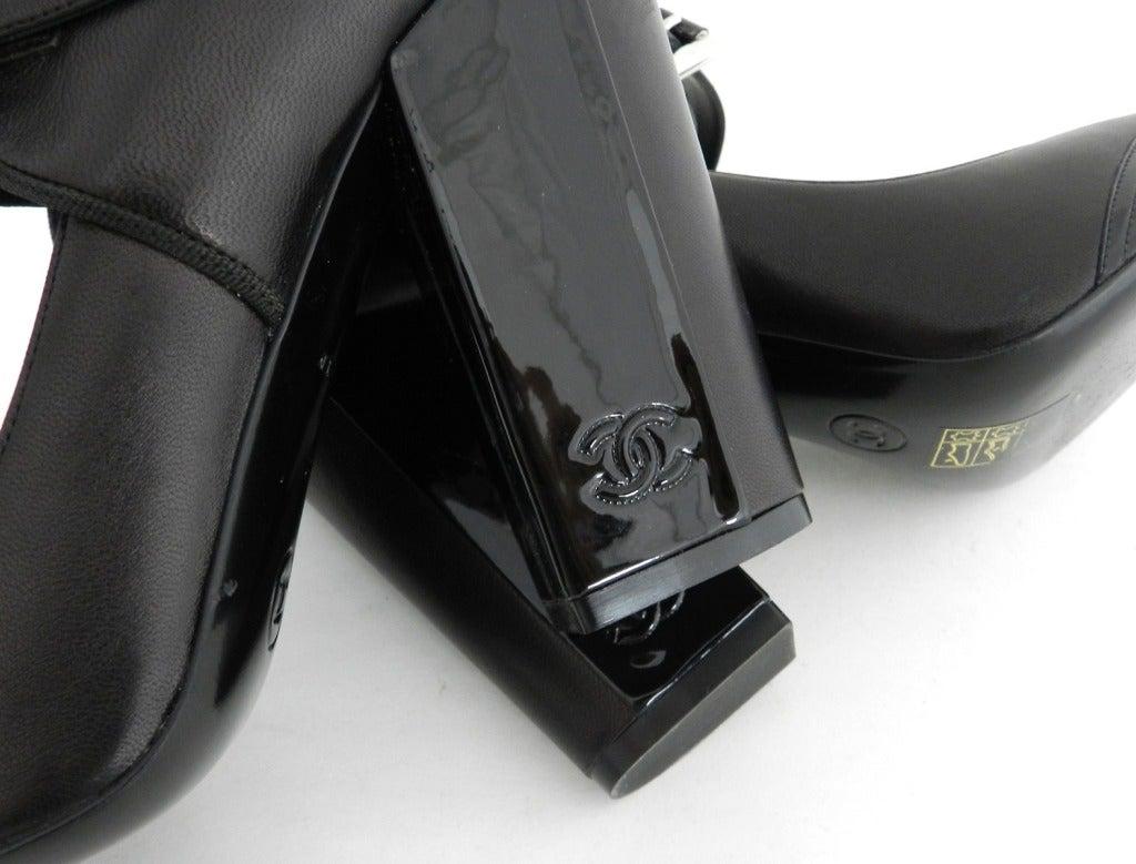 Chanel 08p Black Patent Runway Mary Jane Heels 6