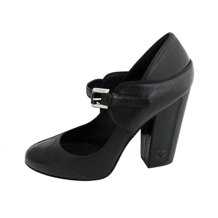 Chanel 08p Black Patent Runway Mary Jane Heels 1