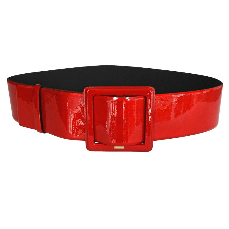 chanel 09a wide patent runway belt at 1stdibs