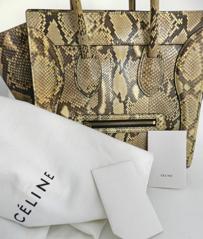 Celine Luggage Phantom Tote in Natural Python at 1stdibs