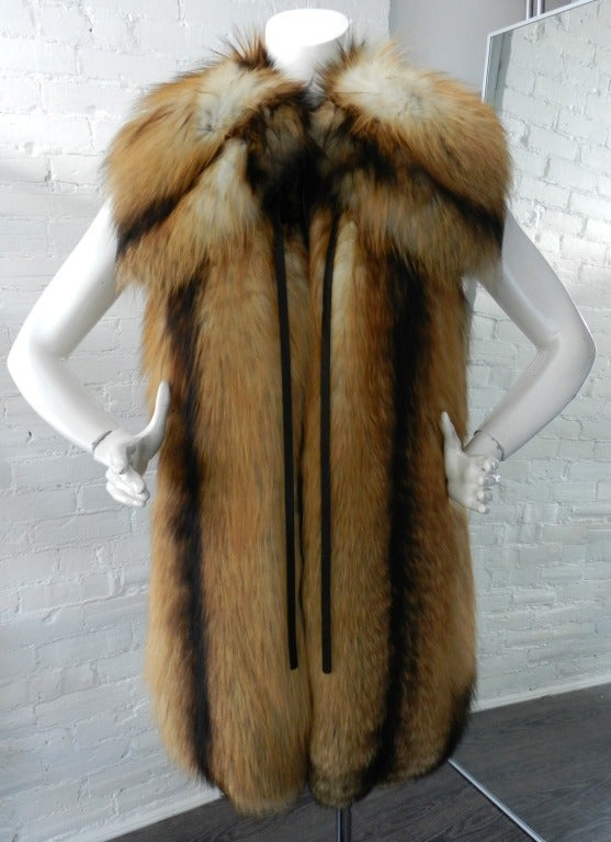 J Mendel Red Fox Fur Vest Coat With Leather Sleeves At