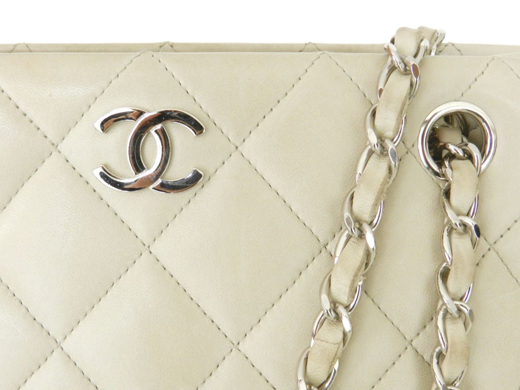 Chanel Dove Grey Quilted Purse 2