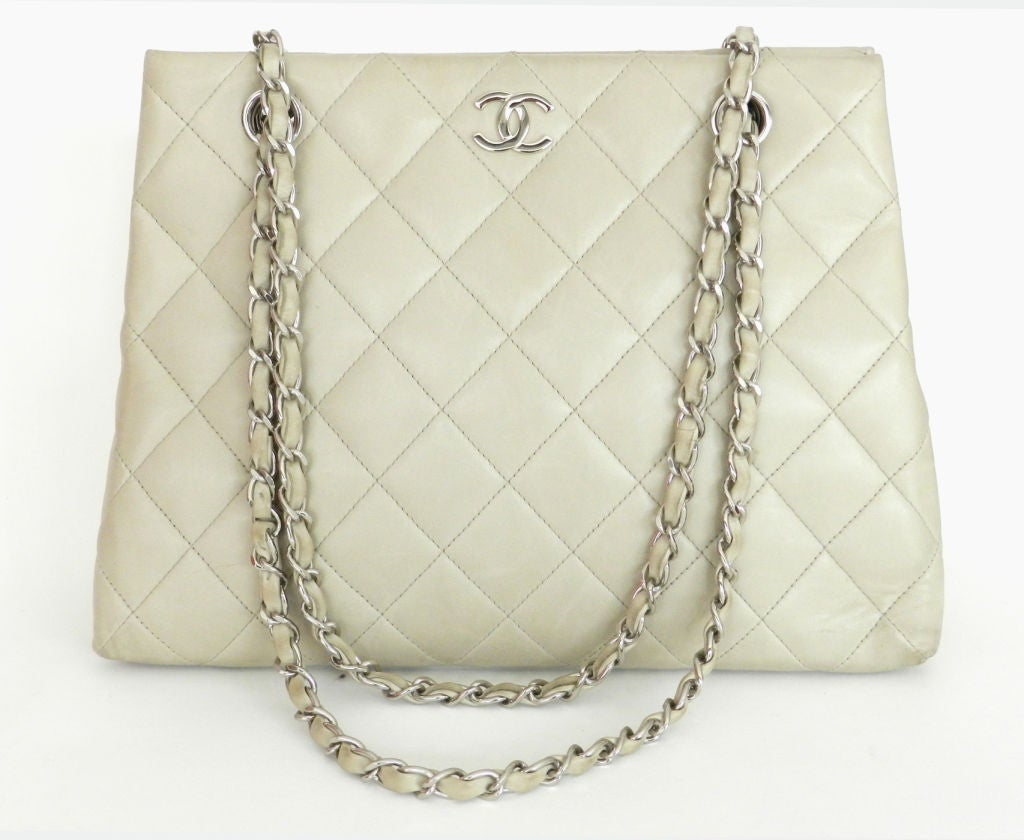 Chanel Dove Grey Quilted Purse 3