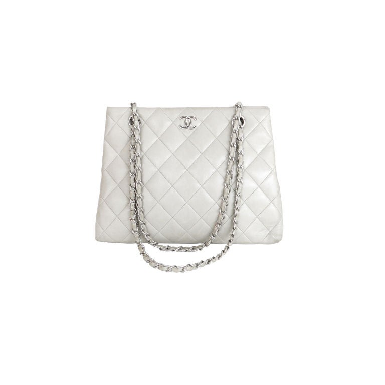 Chanel Dove Grey Quilted Purse 1