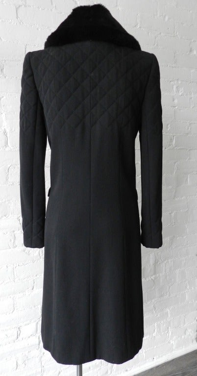 Chanel 06A Black Long Coat with Fur Collar 2