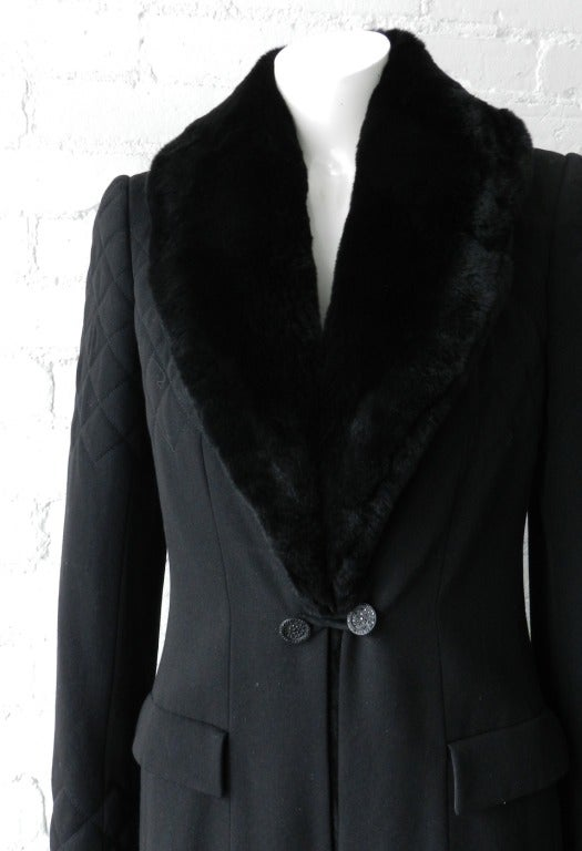 Chanel 06A Black Long Coat with Fur Collar 4