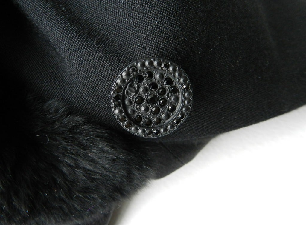 Chanel 06A Black Long Coat with Fur Collar 6