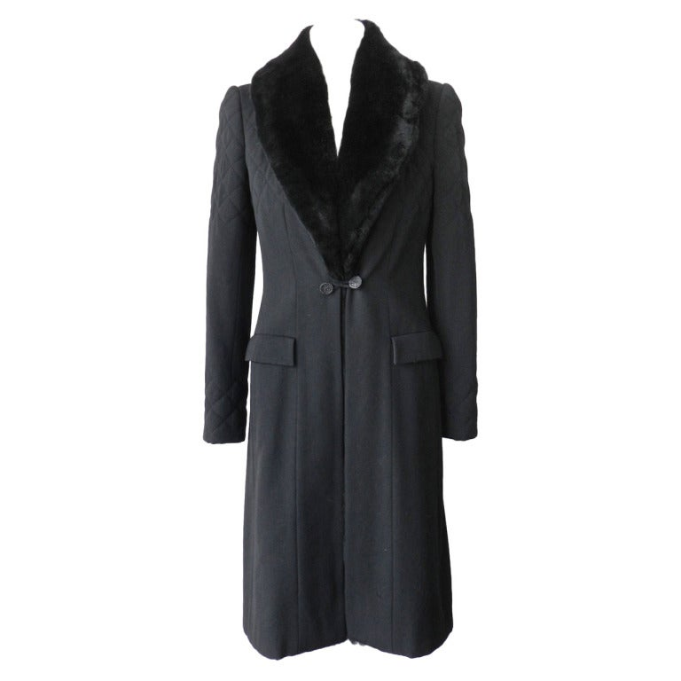 Chanel 06A Black Long Coat with Fur Collar 1