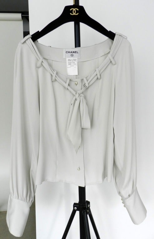 Chanel Dove Grey Silk Blouse with Pearl Buttons 2