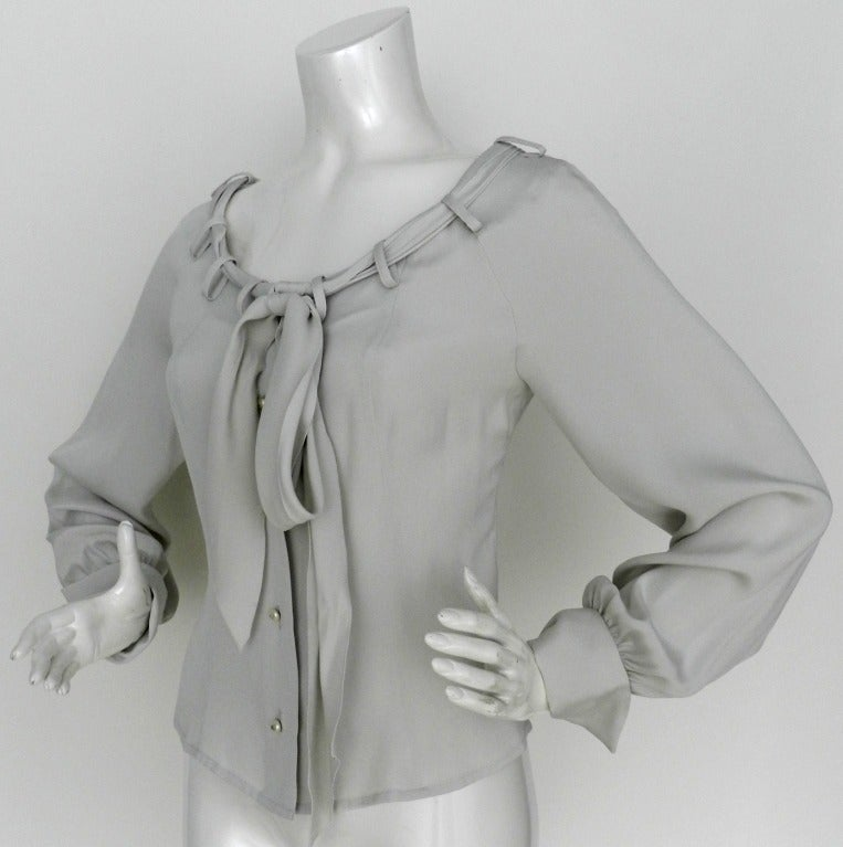 Chanel Dove Grey Silk Blouse with Pearl Buttons 3