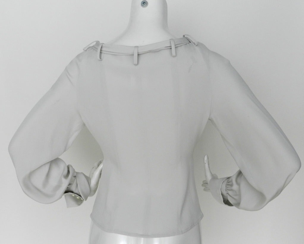 Chanel Dove Grey Silk Blouse with Pearl Buttons 4