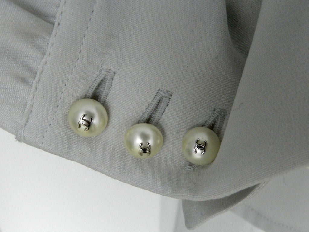 Chanel Dove Grey Silk Blouse with Pearl Buttons 5