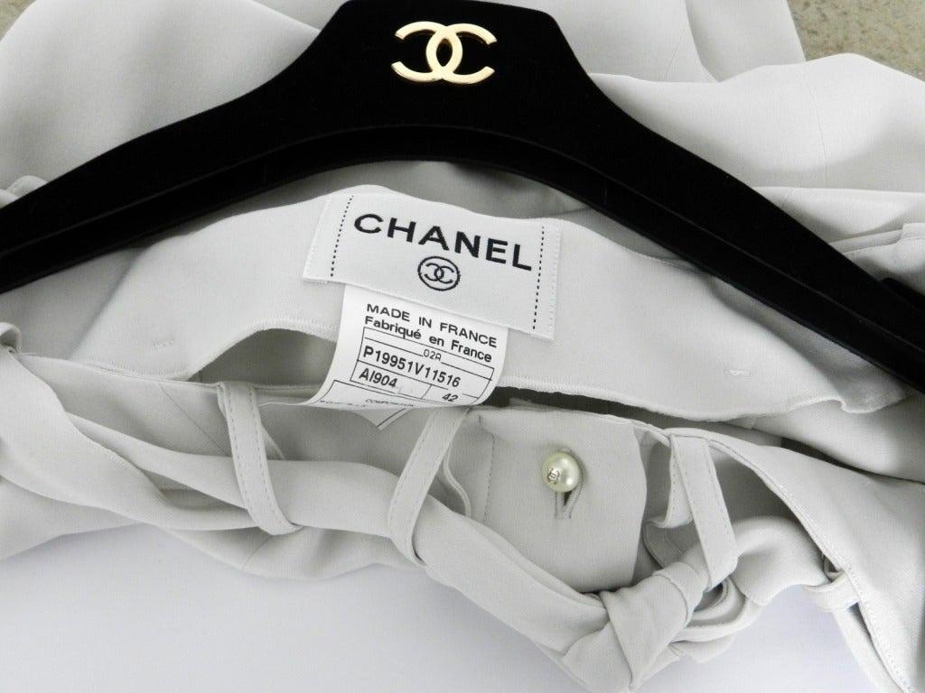 Chanel Dove Grey Silk Blouse with Pearl Buttons 6