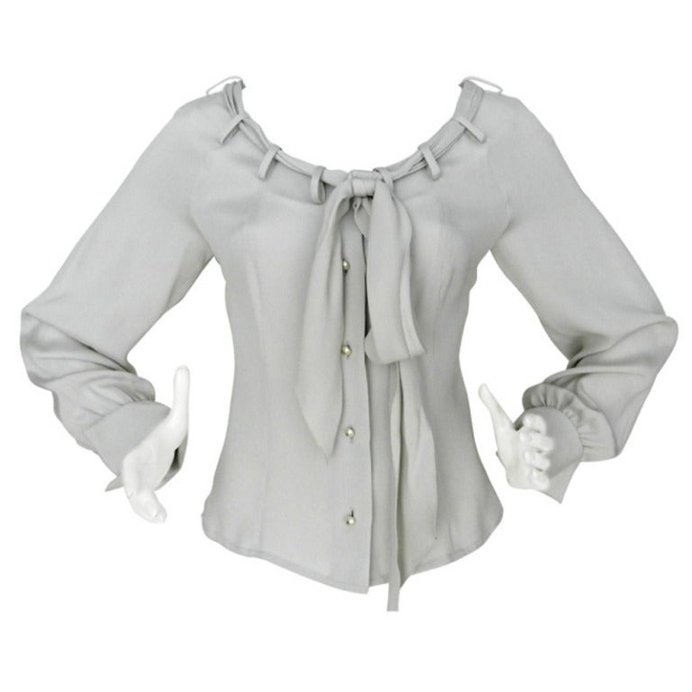 Chanel Dove Grey Silk Blouse with Pearl Buttons 1