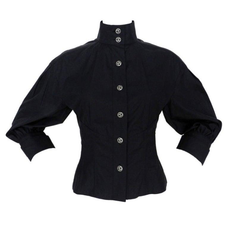 Chanel 08p Black Cotton Button Down Blouse At 1stdibs